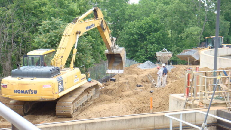 SFMS Excavation besides worksite for new concrete foundation in Virginia